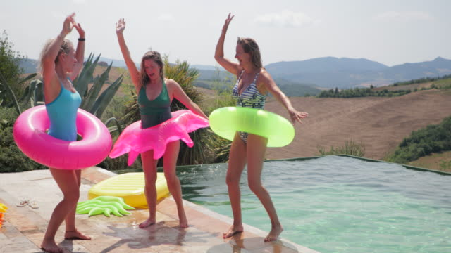 dancing by the pool - tuscany stock videos and b-roll footage