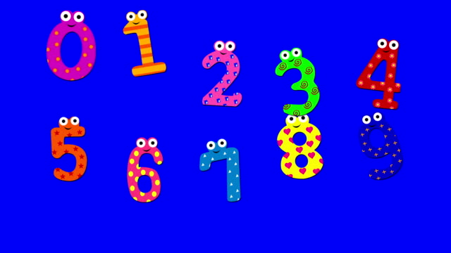 dancing cartoon numbers 0 to 9, abstract background (loopable) - number 9 stock videos & royalty-free footage