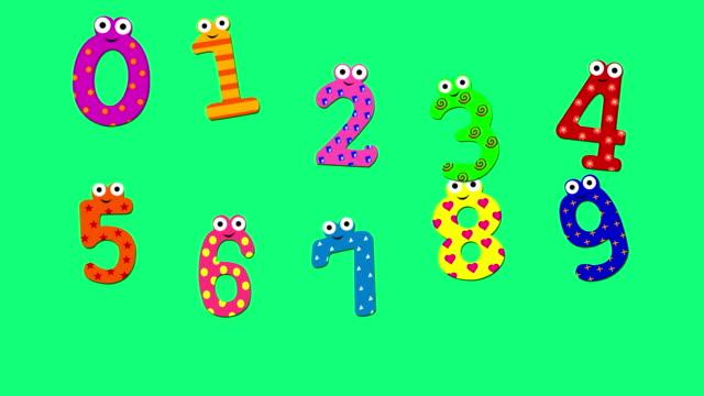 dans cartoon siffrorna 0 till 9, abstrakt bakgrund (loopable) - nummer 9 bildbanksvideor och videomaterial från bakom kulisserna