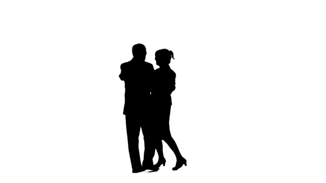 Dancing couple silhouettes