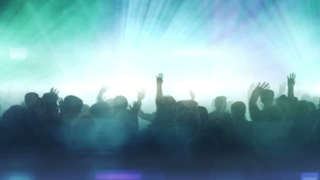 dancing crowd (blue version) - loop - live event stock videos & royalty-free footage