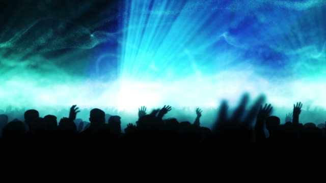 dancing crowd with particles & frozen movement (blue version) - loop - wide shot stock videos & royalty-free footage
