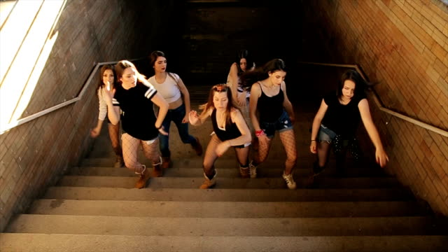 Dancing group,hip hop dance on stairs