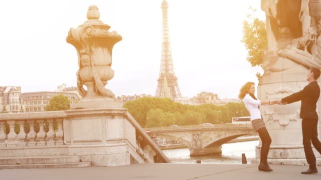 dancing on paris streets - romance stock videos & royalty-free footage