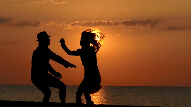 dancing on the sunset slowmotion - valentine's day stock videos & royalty-free footage