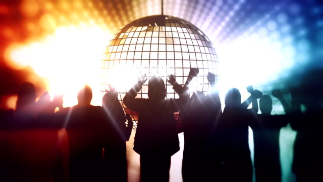 Dancing people and disco ball
