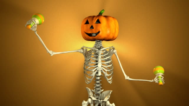 Dancing Pumpkin Head with Maracas for Halloween (Loopable and Alpha-Matte)