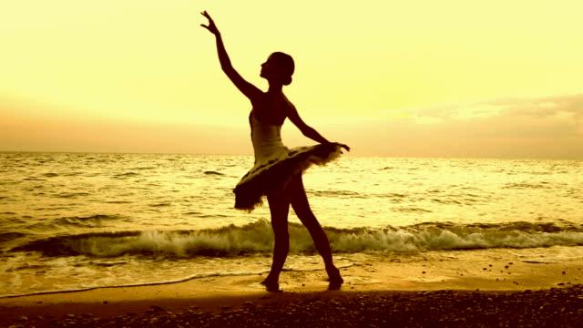 tanz silhouette mit einem ballerina - charmant stock-videos und b-roll-filmmaterial