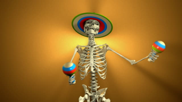 Dancing Skeleton with Maracas for Halloween (Loopable and Alpha-Matte)