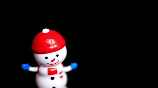 Dancing snowman, black background, funny, happy
