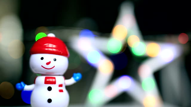 dancing snowman, christmas star, funny, happy - christmas tree stock videos and b-roll footage