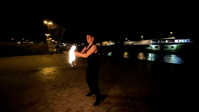 dancing with fire,camera stabilization shoot