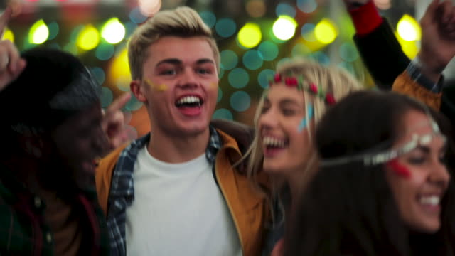 dancing with friends at festival - carefree stock videos & royalty-free footage