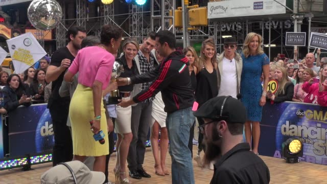 dancing with the stars contestants with gma cast on the outside set of the good morning america show in celebrity sightings in new york - spielkandidat stock-videos und b-roll-filmmaterial