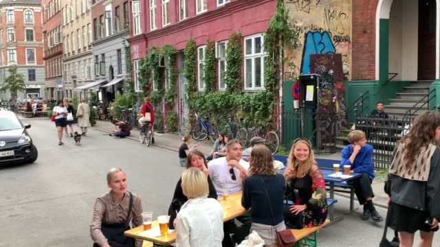 danes enjoying a saturday afternoon in the street, copenhagen - town stock videos & royalty-free footage