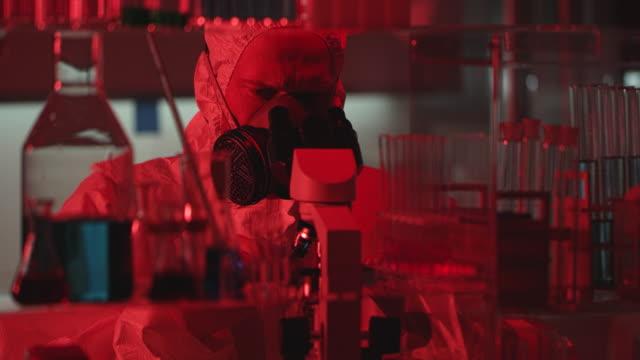 danger red alert in laboratory - danger stock videos & royalty-free footage