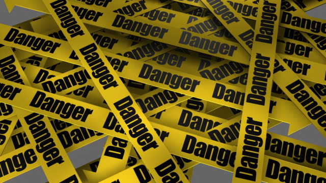 stockvideo's en b-roll-footage met danger warning sign + alpha included - afzetlint