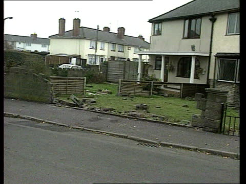 england gv street where girls were killed after being hit by car pan lr to smashed wall gv smashed wall pan staffordshire stafford crown court gv... - stafford england stock videos and b-roll footage