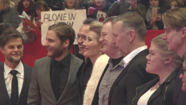 daniel bruehl vincent perez emma thompson brendan gleeson at 'alone in berlin' red carpet 66th berlin international film festival at berlinale palast... - emma thompson stock videos and b-roll footage