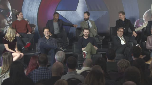 INTERVIEW Daniel Bruhl Anthony Mackie on Robert Downey Jr's trailer at 'Captain America Civil War' Press Conferenc at The Corinthia Hotel on April 25...