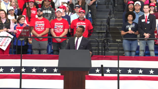 "daniel cameron, who is running for kentucky attorney general, speaks during a trump rally, november 4 in lexington, kentucky. rough transcript: ""so... - attorney general stock videos & royalty-free footage"