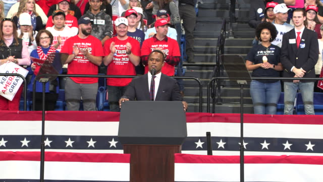 "daniel cameron, who is running for kentucky attorney general, speaks during a trump rally, november 4 in lexington, kentucky. rough transcript: ""this... - attorney general stock videos & royalty-free footage"
