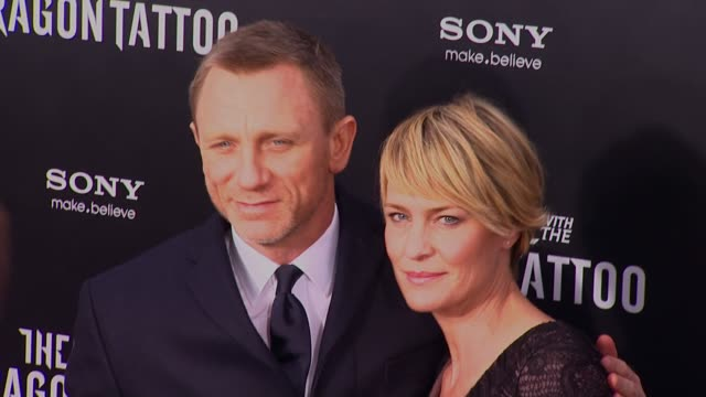 daniel craig and robin wright at 'the girl with the dragon tattoo' new york premiere new york ny united states - robin wright stock videos and b-roll footage