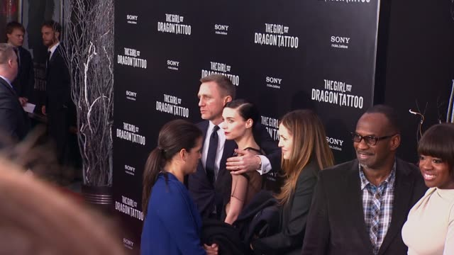 daniel craig and rooney mara at 'the girl with the dragon tattoo' new york premiere, new york, ny, united states, - tattoo stock videos & royalty-free footage