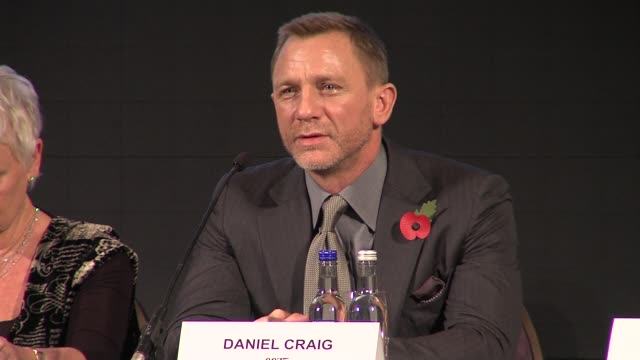 daniel craig at the bond 23 launch press conference skyfall at london england - skyfall stock videos and b-roll footage