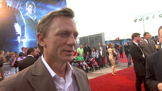 daniel craig on it being a dream come true to play a cowboy at the cowboys aliens uk premiere at london england - cowboys & aliens stock videos and b-roll footage