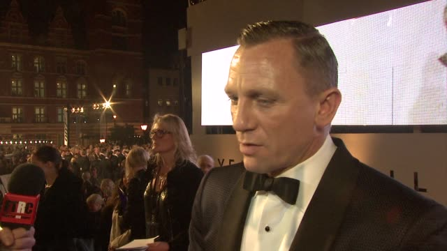 daniel craig on what sam mendes brought to the project being at the premiere at 'skyfall' royal world premiere at royal albert hall on october 23... - daniel craig stock videos and b-roll footage