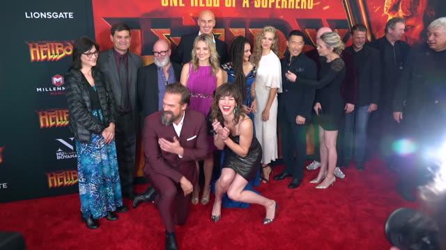 Daniel Dae Kim Sasha Lane Milla Jovovich David Harbour and guests at 'Hellboy' New York Special Screening at AMC Lincoln Square Theater on April 09...