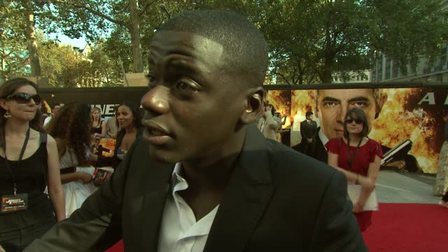 daniel kaluuya on what he learned from rowan atkinson at the johnny english reborn uk premiere at london england - daniel kaluuya stock videos and b-roll footage