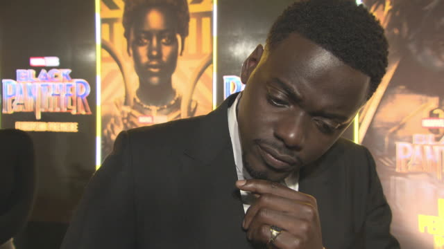 INTERVIEW Daniel Kaluuya on working on the film at 'Black Panther' European Premiere at Eventim Apollo on February 8 2018 in London England