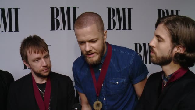 interview daniel platzman ben mckee dan reynolds and daniel wayne sermon on what it means to receive this recognition from bmi the most rewarding... - soundtrack stock videos & royalty-free footage