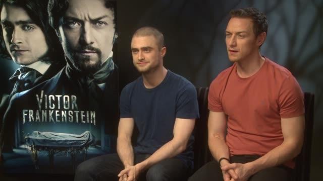 Daniel Radcliffe and James McAvoy interview ENGLAND London INT Daniel Radcliffe and James McAvoy interview SOT re new film 'Victor Frankenstein'