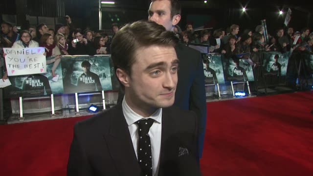 daniel radcliffe on being involved in the project, what he's learnt as a young actor, moving on from harry potter at the woman in black world... - royal festival hall stock videos & royalty-free footage