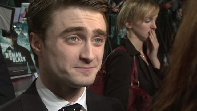 daniel radcliffe on the story, the appeal of the script, what audiences can expect at the woman in black world premiere at the royal festival hall on... - royal festival hall stock videos & royalty-free footage