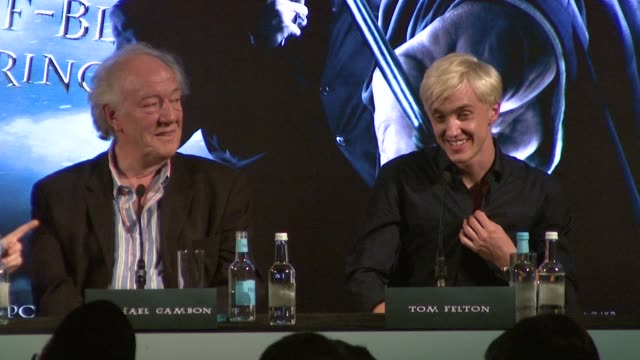 daniel radcliffe tom felton bonnie wright on the end of harry potter and what they will do afterwards at the harry potter and the halfblood prince... - tom felton stock videos & royalty-free footage