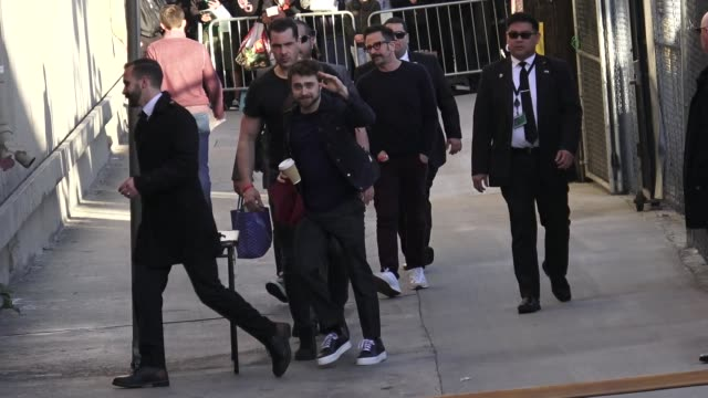 daniel radcliffe waves to fans outside jimmy kimmel live at el capitan theater in hollywood in celebrity sightings in los angeles, - celebrity sightings stock videos & royalty-free footage