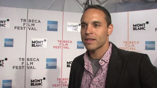 vídeos de stock, filmes e b-roll de daniel sunjata of rescue me talking about supporting peter tolan the closeness of his show's cast and the upcoming season at the 7th annual tribeca... - rescue me