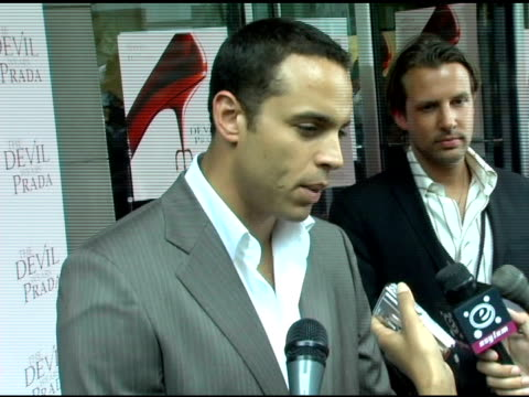 Daniel Sunjata on the world in 'The Devil Wears Prada' not caring about the label on clothes and his own suit at the 'The Devil Wears Prada' New York...