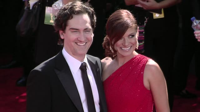 daniel zelman debra messing at the 61st annual primetime emmy awards arrivals part 2 at los angeles ca - debra messing stock videos and b-roll footage