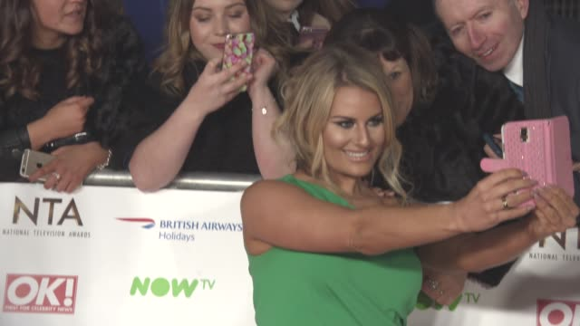 danielle armstrong at television awards 2016 on january 19 2016 in london england - television awards stock videos & royalty-free footage