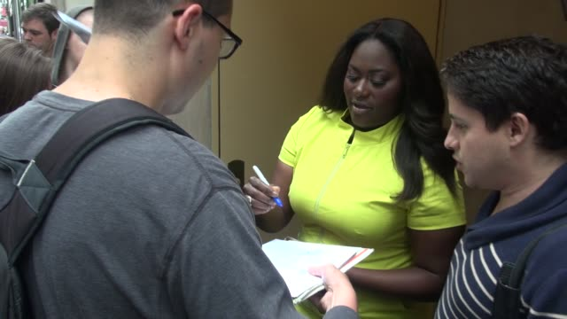 Danielle Brooks signs for fans outside of the Today show in Rockefeller Center before leaving in Celebrity Sightings in New York