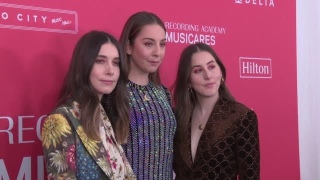 Danielle Haim Este Haim and Alana Haim at MusiCares GRAMMYS Tribute at Radio City Music Hall on January 26 2018 in New York City