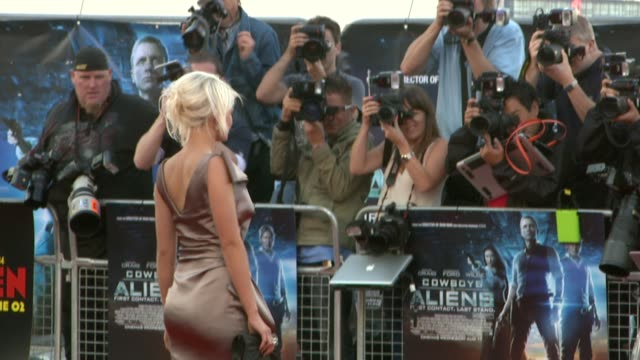 danielle harold at the cowboys aliens uk premiere at london england - cowboys & aliens stock videos and b-roll footage