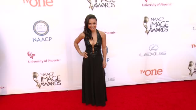 stockvideo's en b-roll-footage met danielle nicolet at the 46th annual naacp image awards arrivals at pasadena civic auditorium on february 06 2015 in pasadena california - pasadena civic auditorium