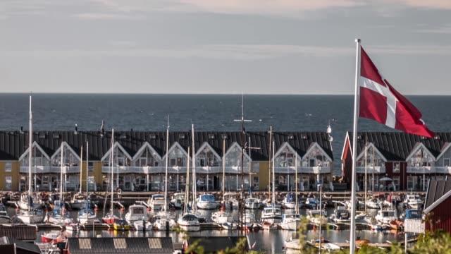 vídeos y material grabado en eventos de stock de bandera danesa volando cerca de un puerto - danish flag