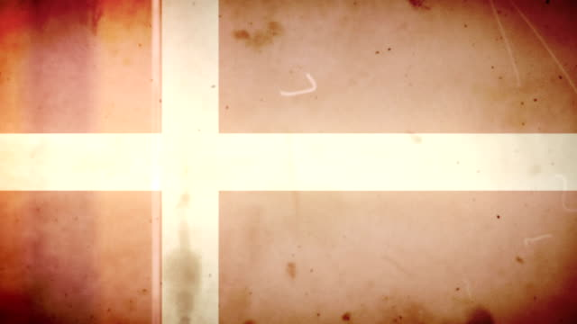 danish flag - grungy retro old film loop with audio - helgdag bildbanksvideor och videomaterial från bakom kulisserna